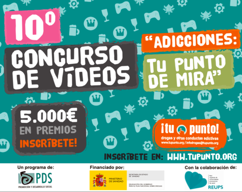 """10º Concurso de vídeos """"Adicciones: Tu punto de mira"""" sobre prevención de las drogas."""