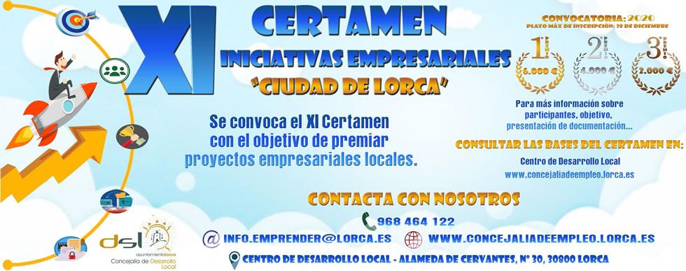 """XI Certamen de Iniciativas Empresariales """"Ciudad de Lorca"""" 2020"""