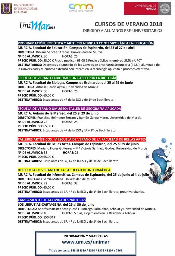 Escuelas de Verano y Campamentos para preuniversitarios. Unimar2018