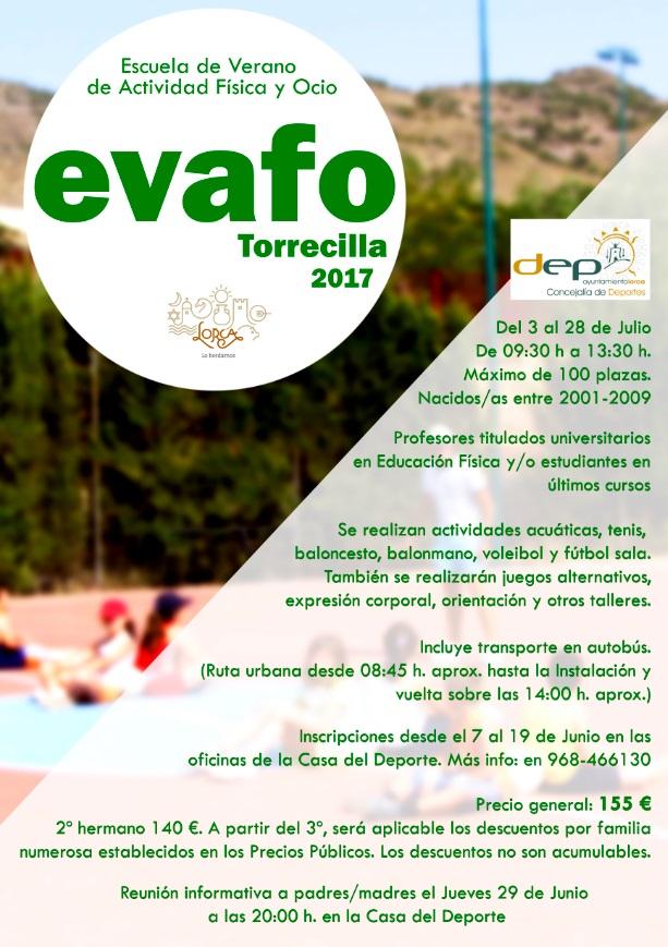 Escuela de Verano Actividad Física y Ocio. EVAFO. Concejalía de Deportes Ayto. de Lorca