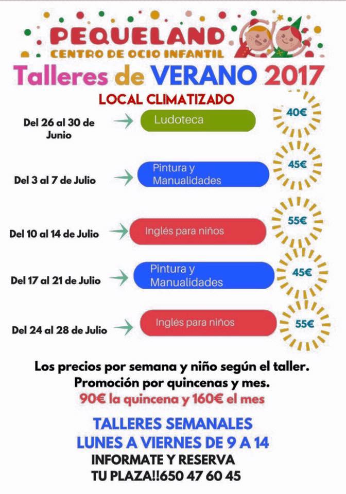 Talleres de Verano Pequeland. Centro de Ocio Infantil. Lorca Verano 2017