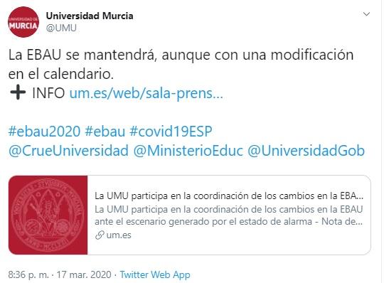 EBAU 2020 de la Universidad de Murcía NO SE SUSPENDE. Pendiente de fechar.